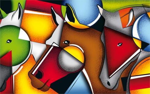Аннотация-рисунок-цвет-лошади-лица-4-размеры-шелковой-ткани-холст-печать-плакатов