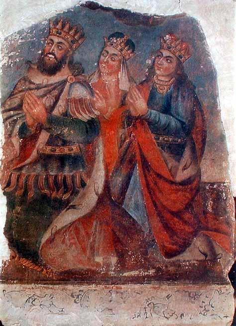 King_Tiridates_with_his_wife_Ashkhen_and_sister_Khosrovidukht_by_Naghash_Hovnatan